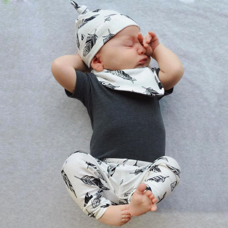 4Pcs Sets Summer Baby Boy Clothes Short Sleeve T-shirt+Pants+Hat+Bibs Newborn Infant Boys Clothing Toddler Outfits-eosegal
