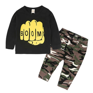 RP-324 Autumn Fashion Baby Clothing Suits with Letter Print T-shirt + Camouflage Pants 2Pcs.Set of Clothes for Newborn Bebes-eosegal