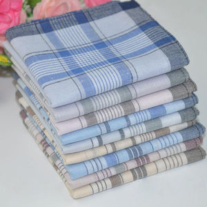 12pcs/lot Classic Plaid Men's Party Handkerchief Cotton Fabric Hanky Pocket Square 38*38cmeosegal-eosegal