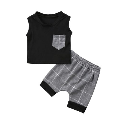 Casual Newborn Infant Baby Boy Sleeveless Tops T-Shirt +Plaid Pants Outfits Clothes Set-eosegal