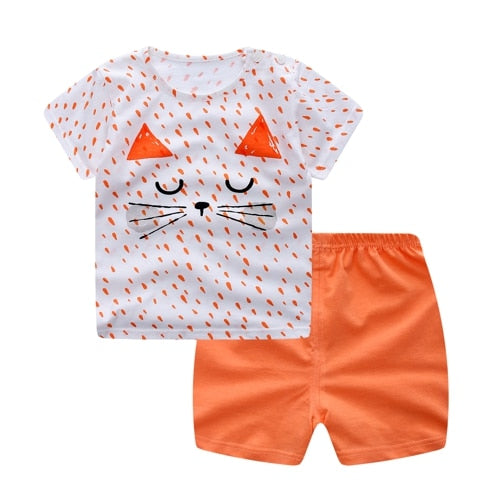 salaher Summer Newborn Baby Girl Clothing Set Cartoon T-Shirt+Pants Suit Clothing Set Bear Printed Clothes Newborn Sport Suits-eosegal
