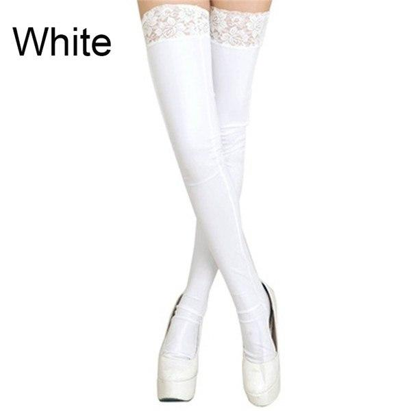 Women Fashion Stockings Lady Black Lace High Nightclubs Faux Leather Sexy Thigh Stockings Dress Clothing Accessories-eosegal