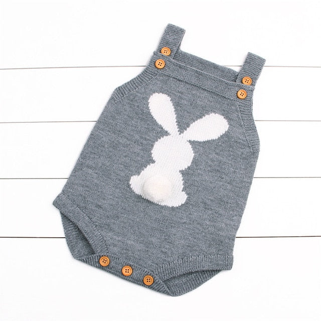 Cute Newborn Baby Boy Girls Bunny Knitting Wool Pom Pom Romper Jumpsuit Outfits Set Sleeveless baby boy girls clothes-eosegal