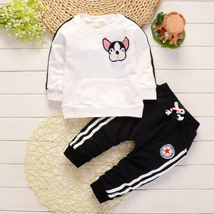 Baby Boy Clothes Spring Autumn Cartoon Dog Round Neck T-shirts Tops Long Pants Infant Clothing Set Casual Kids Bebes Sport Suits-eosegal