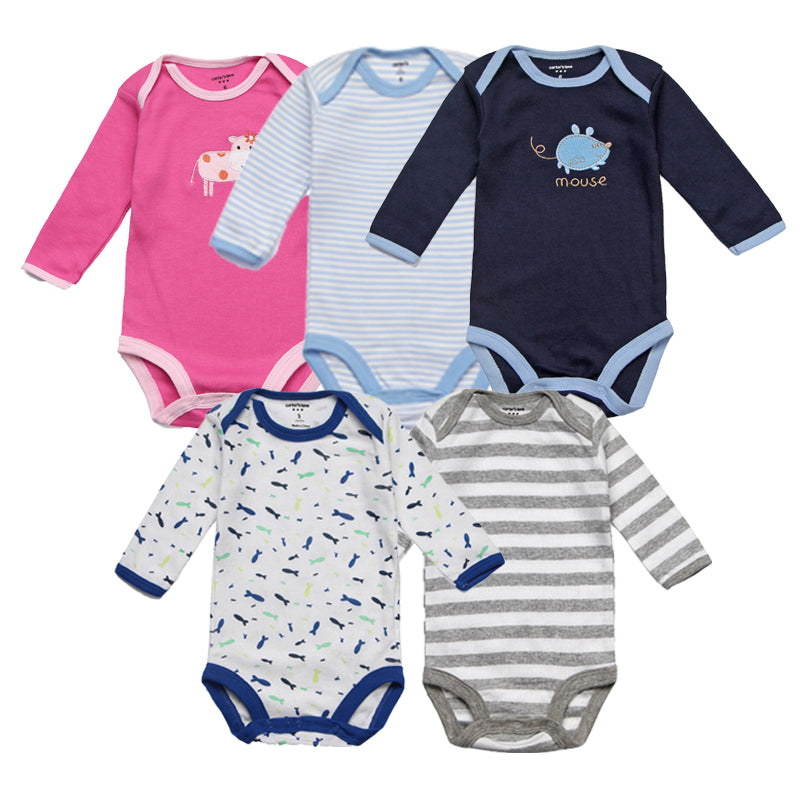 5Pcs Baby Rompers Spring Baby Girl Clothes Autumn Newborn Baby Clothes 2017 Baby Boy Clothing Sets Roupas Infant Jumpsuits-eosegal