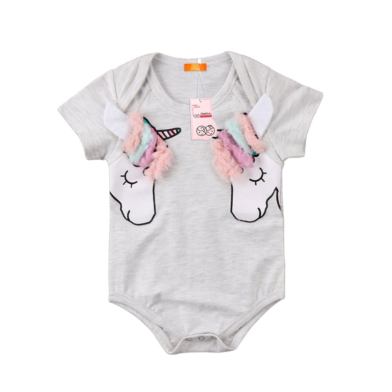 Emmababy Newborn Baby Girls bodysuit bebe girl 3D Unicorn Short Sleeve bodysuits cotton Outfits Clothes Summer bodysuit girls-eosegal