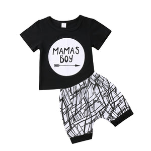 2018 Newborn Infant Baby Boy Toddler Short Sleeves Mama Boy Black Cotton T-shirt Tops+Pants Shorts Outfit Summer Clothes 0-24M-eosegal