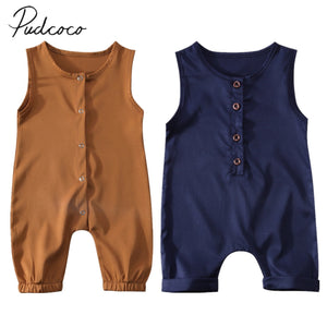 2017 Brand New Toddler Infant Newborn Kids Baby Girls Boys Summer Romper Solid Jumpsuit Sleeveless Clothes Brief Outfits-eosegal