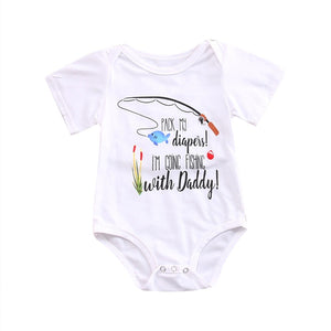 pudcoco Newborn baby girl boy bodysuits 2018 fishing with daddy letter bodysuits Clothes bebe clothing stroller roupas bodysuit-eosegal