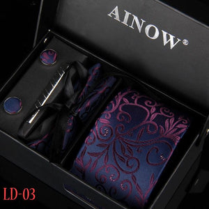 3.35inch Wide Tie Man Wedding Tie Paisley Jacquard Arrow Men Tie, Handkerchief,eosegal-eosegal