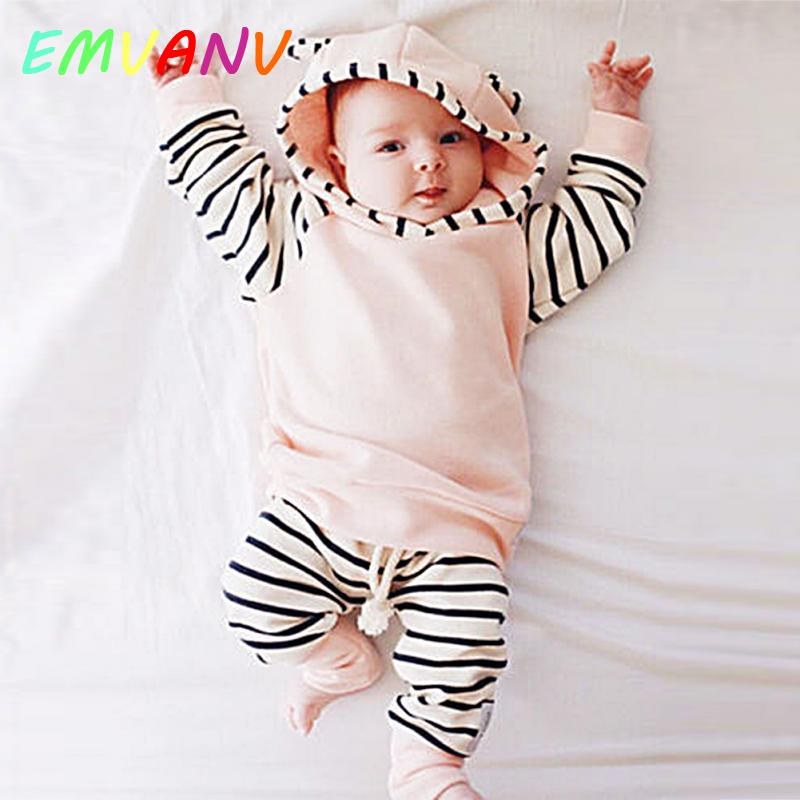 Pink Casual Striped Toddler Newborn Clothes Coat Baby Girl Hooded Top outwear And Long Pants Outfits 2PCS Clothes Set 0-2 year-eosegal