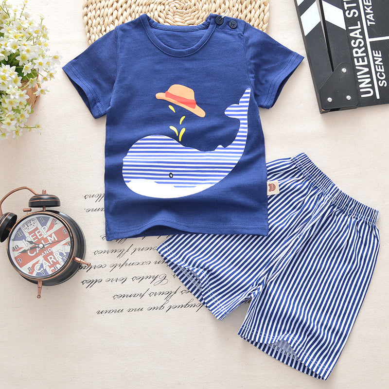 Baby boys clothes summer baby clothes sets t-shirt+shorts 2pieces whale aircraft Printed Clothes newborn sport suits-eosegal