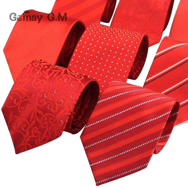Red Striped Ties for Men Casual Jacquared Neckties for Men Classic Stripedeosegal-eosegal