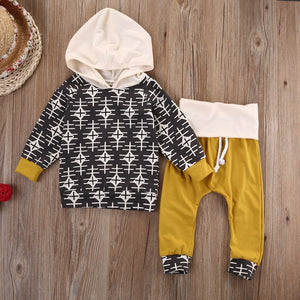 2016 kids boys clothes baby clothing sets Newborn Toddler Infant Baby Boy Girl Clothes Hooded Tops+Pants Outfits Set-eosegal