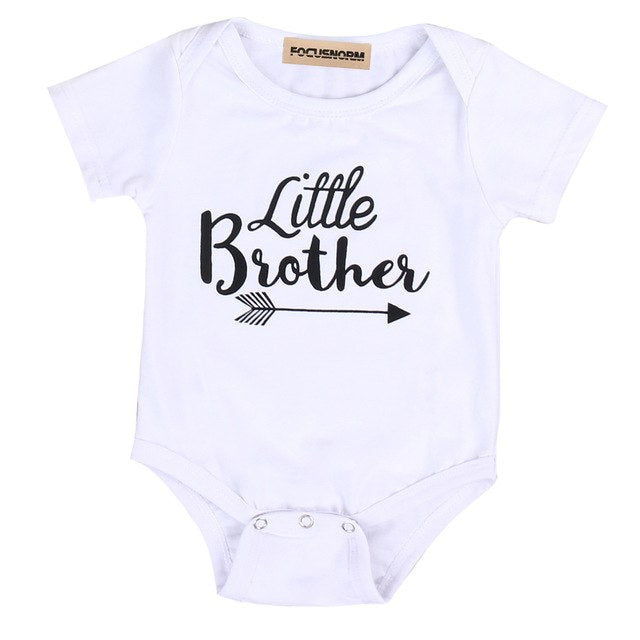 Family Matching Cotton Outfits Toddler Kids Baby Boys Little Brother Short Sleeve Romper Girls Big Sister T-shirt Tops-eosegal