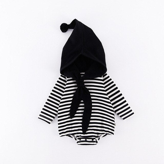 Spring Striped Baby Sets Navy Style Long Sleeve Bodysuits+Shaped Hat 2pcs Suit Crew Clothing Sets Girls Boys Two Pieces Suits-eosegal