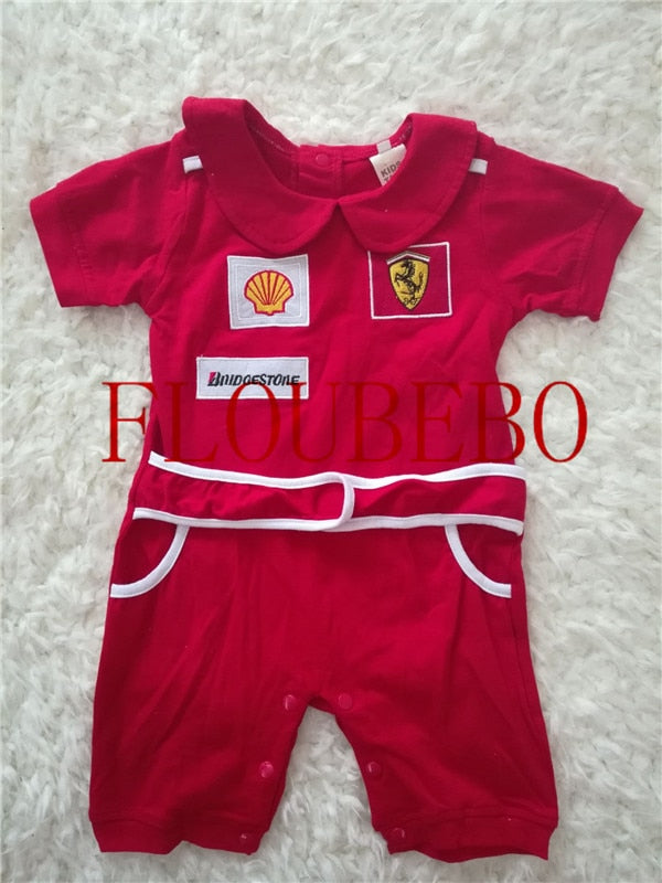 Red Baby F1 Racing Jumpsuit Romper Bodysuit Coat Kids Clothes Boy Girl climbing body costume Schumacher Vettel Massa Kimi-eosegal