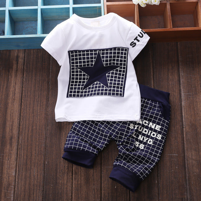 Hot Baby Sets The Star Child Plaid T Shirt +pants 2pc Suit Boy and Girl Sport Suits 0-2 Ages Free Shipping-eosegal