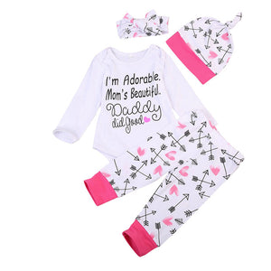 Pudcoco Fashion Autumn Newborn Baby Girl Boys Clothes Sets Cotton Tops Romper Pants Hat Home Outfits Set Clothes-eosegal