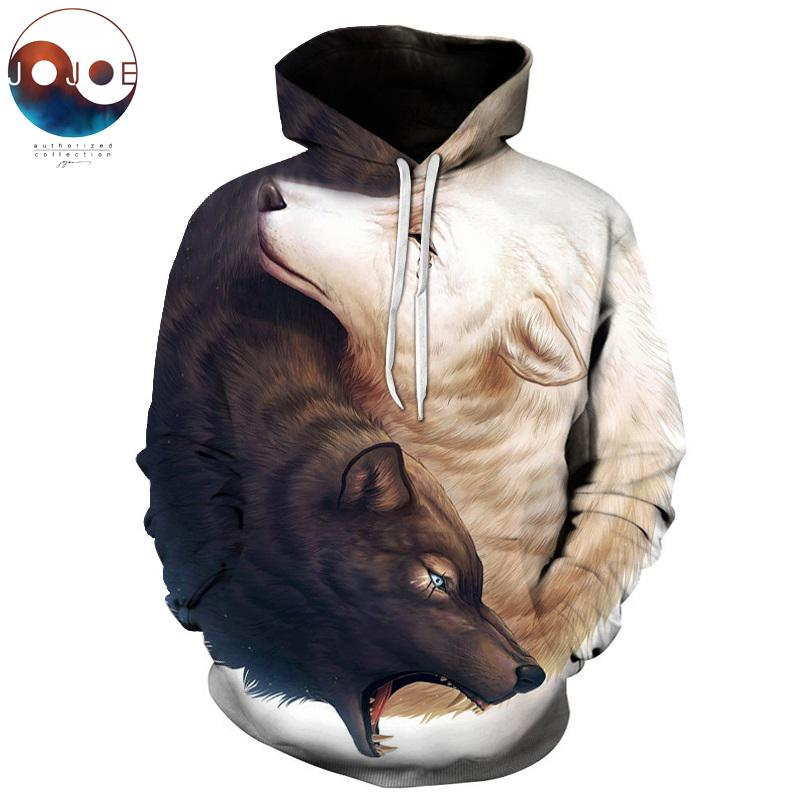 Yin and Yang Wolves by JoJoesArt 3D Wolf Hoodies Brand Hoodie Meneosegal-eosegal