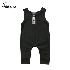 2018 Brand New Newborn Toddler Infant Kids Baby Girls Boys Romper Sleeveless Jumpsuit Harem Pants Clothes Solid Outfits 0-18M-eosegal