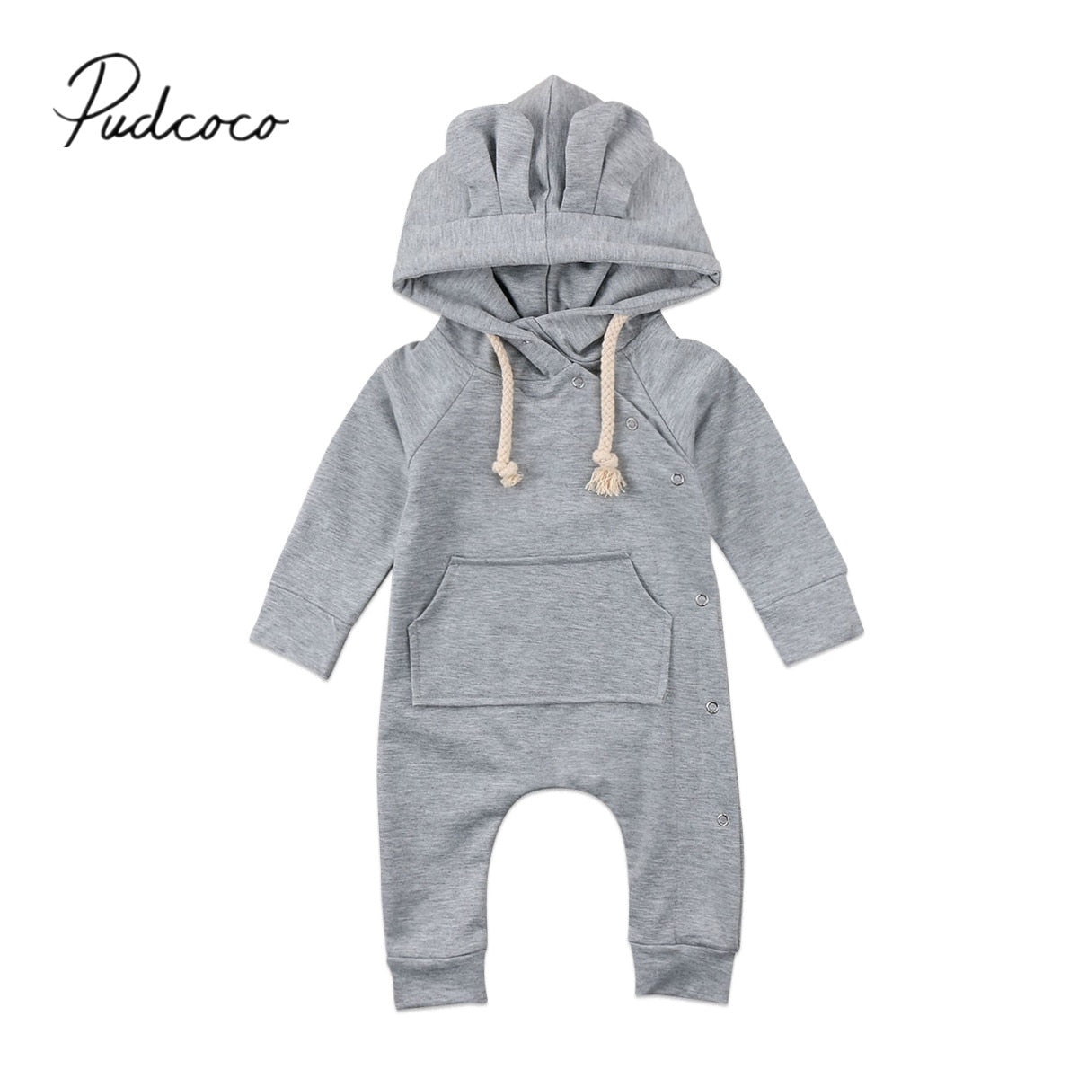 2018 Brand New Newborn Toddler Infant Baby Girl Boys Hooded Romper Jumpsuit Playsuit Long Sleeve Clothes Little Ear Warm Outfits-eosegal