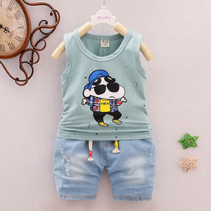 Summer baby boy clothes outfits casual sports suit for infant baby's clothing sleeveless T-shirt + cowboy shorts suit 2pcs sets-eosegal