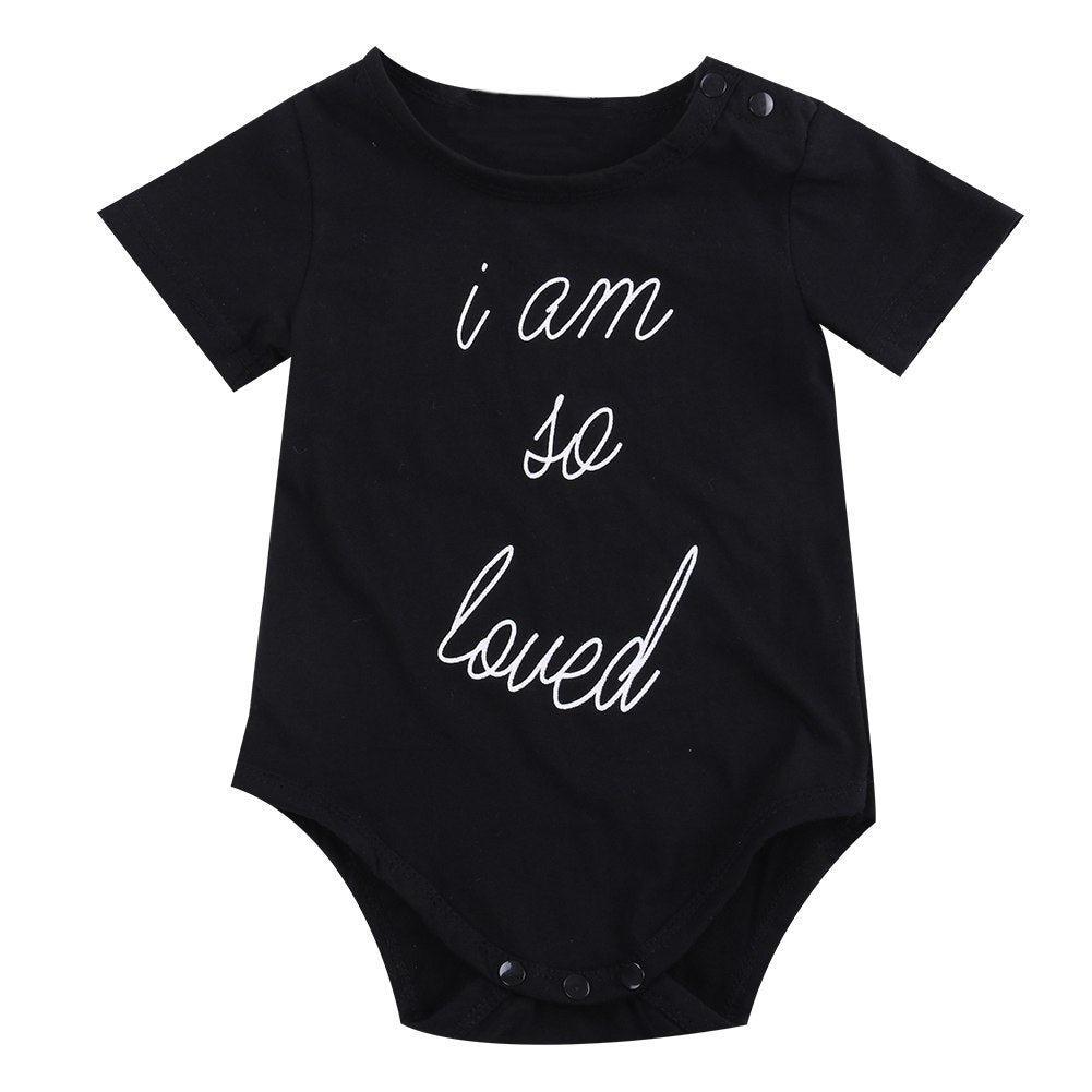 2018 Newborn Infant Baby Boys Girls Short Sleeves Black Bodysuit Jumpsuit Outfits Sunsuit Casual Summer Clothes SS-eosegal