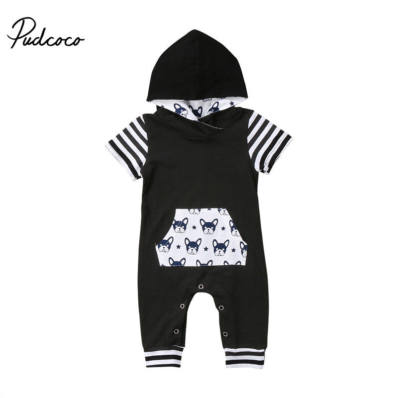 f71ec8dea562 pudcoco Newborn Cute Baby Boy Girl clothes kids rompers dog print Short  Sleeve cotton Hoodie Romper