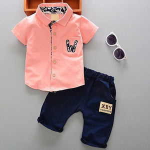 Child 2018 summer infant baby boy clothes outfits sports suits 2pcs sets for baby boy clothing set 100% cotton design tracksuit-eosegal