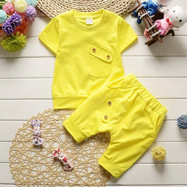 2018 Summer Baby Boys Girls Clothes Sets Casual Style Infant Cotton Suits Sports T Shirt+Pants 2 Piece Kids Children Suits-eosegal