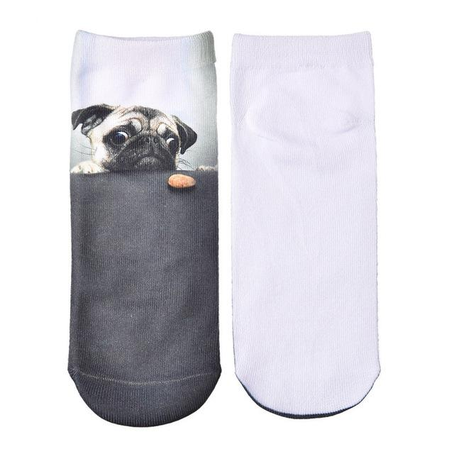 JUMEAUX Trendy 2016 Women Socks 3D Printed Funny Cartoon Animal Art Socks Thin Short Kawaii Pug Socks for Adults-eosegal