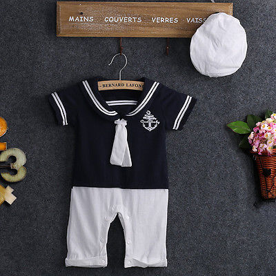 NEW Baby Boy Girl Sailor Collar Costume Suit Grow Outfit Romper Pants Clothes and Hat 0-24M baby boy set-eosegal