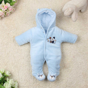 Cute Autumn Winter Cotton Baby Romper Fleece Long Sleeve Coverall Hooded Infant Jumpsuit Bear Down Snowsuit Babies Jumpsuits-eosegal
