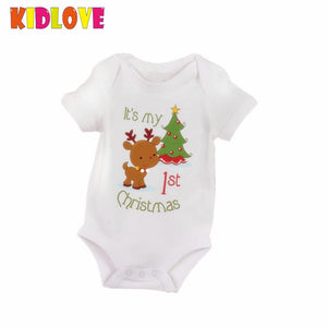 KIDLOVE Christmas Baby Romper Newborn Boys Girl Cartoon Deer My First Christmas Letters Xmas Tree Print Short Sleeve JumpsuitER0-eosegal