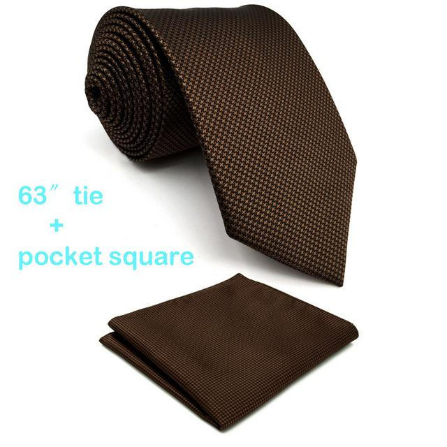 U27 Brown Houndstooth Mens Ties Silk Handmade Wedding Fashion Classic Brand Neweosegal-eosegal