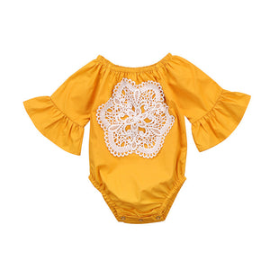 Newborn Infant Baby Girl Bodysuits Autumn Summer Long Sleeve Bodysuit Girls Clothing Cotton Yellow Lace Flower Jumpsuit Outfits-eosegal