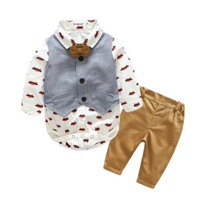 Newborn 3pieces set bebes clothes Gentleman Romper baby boy Clothing Fashion infantil 3PC jumpsuit Vest Romper suit Long Sleeve-eosegal