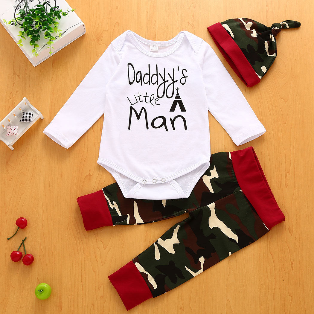 2017 Camouflage Newborn Baby Boy Girl Clothes Jumpsuit Tops Pants Hat 3Pcs Outfits Set Baby Boy Girl Clothes cute new style-eosegal