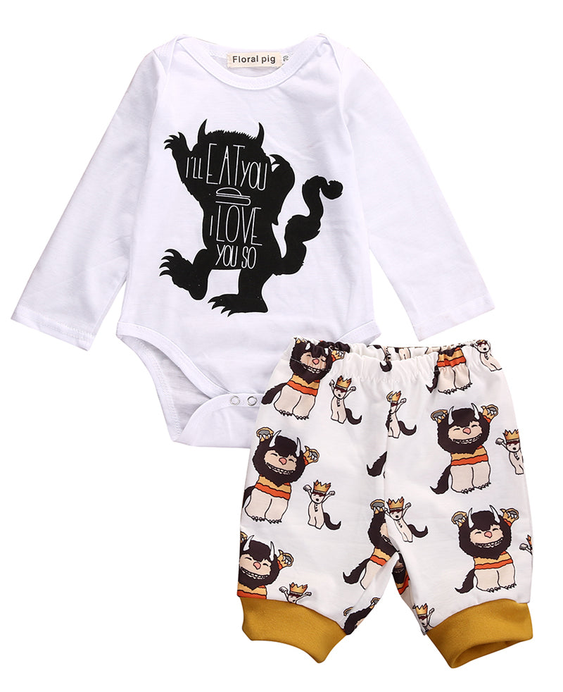 New Casual Baby Boy Girls Print Monster Letter Long Sleeve Tops Romper+Plant Leggings 2pcs Outfits Clothes Set 0-18M-eosegal