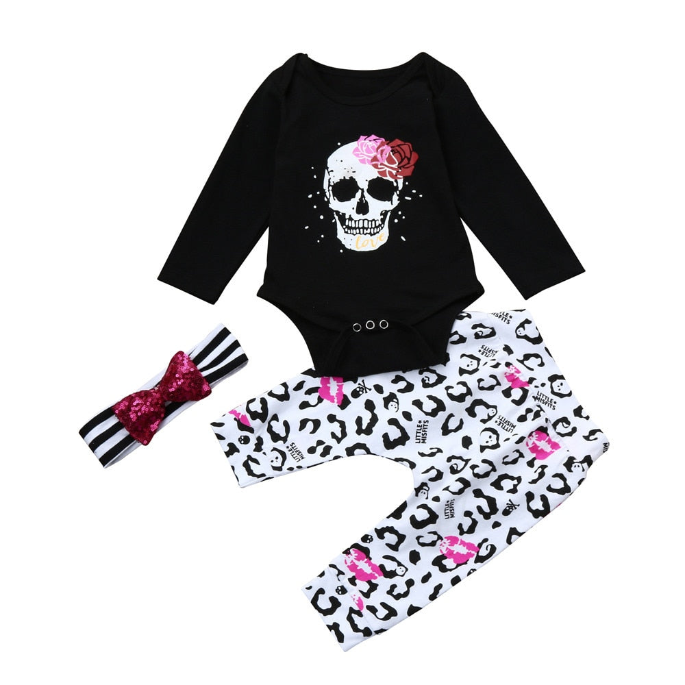 Newborn Infant Baby Girl Skull Floral Romper Tops+Pants 3Pcs Outfits Clothes Set dropshipping-eosegal