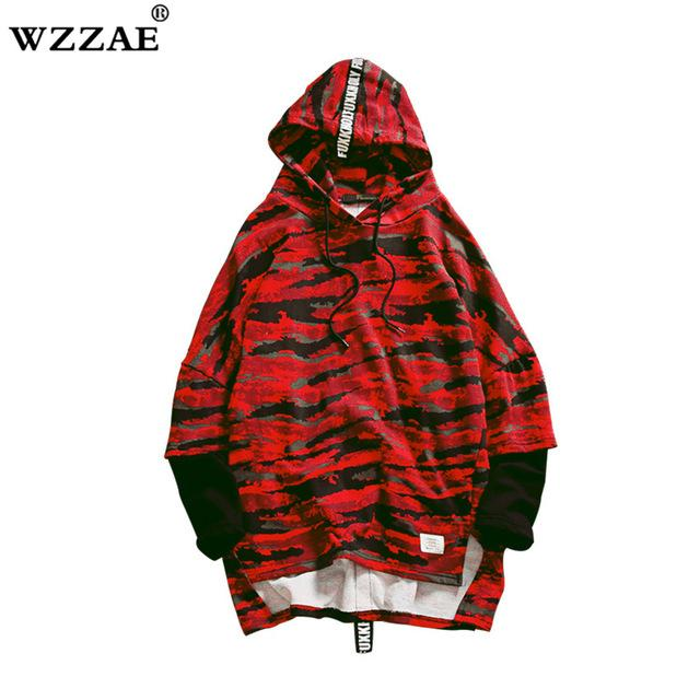 HOT 2018 Red Green Camouflage Hoodie Men Fashion Hip Hop Sweatshirts Brandeosegal-eosegal
