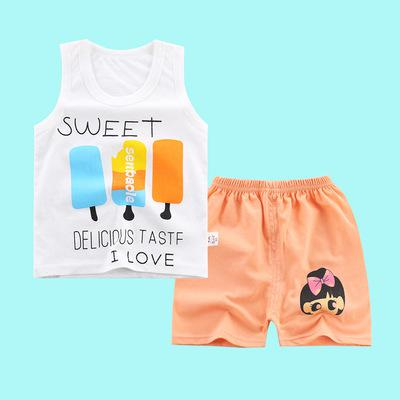 2018 Baby Cotton Set Striped Baby Boy Clothes Baby Girl Outfits Pullover Top Tee + Shorts Suit-eosegal
