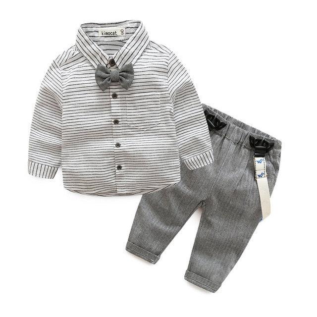 Newborn clothes grey striped shirt with overalls 2pcs/set baby boys clothes kids clothes mini gentleman clothes-eosegal
