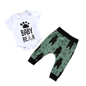 Summer Newborn Boy Baby Bear Kids Short Sleeve Romper+Long Pants Outfits Clothes Baby Clothing-eosegal