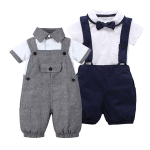 2018 summer style baby boy clothes set short sleeve T shirt +Coveralls 2pcs gentleman newborn baby clothing set Infant toddler-eosegal