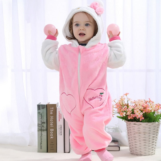 IDGIRL 2018 Cute Cartoon Flannel Baby Rompers Novelty Rabbit Cotton boy girl Animal Rompers Stitch Baby's Sets Baby kigurumi-eosegal