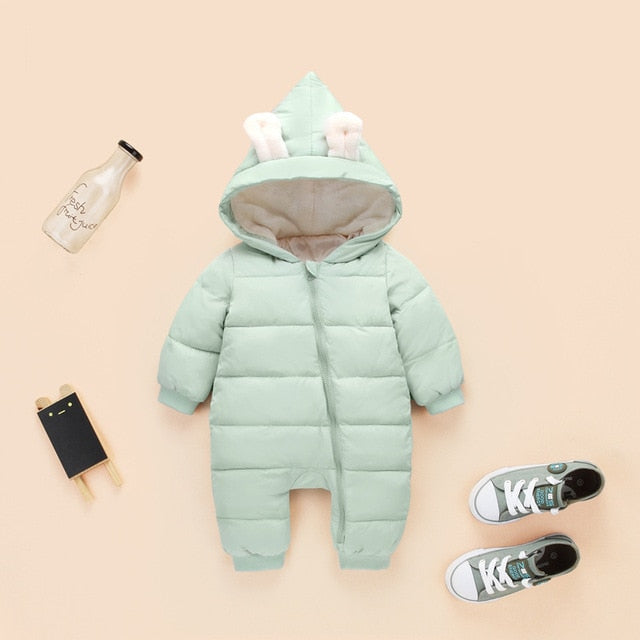 2018 spring autumn Warm baby girl boy Snowsuit down cotton baby Rompers hoodies Newborn overalls clothes kids children jumpsuit-eosegal