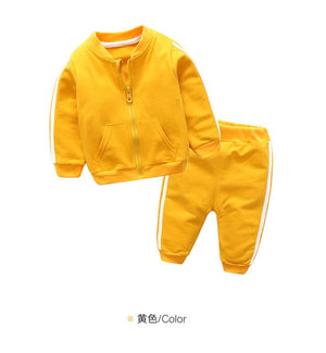 Young boy spring and autumn gentleman's dress suit jacket new baby t shirt coat + trousers 2pcs cotton baby clothes-eosegal