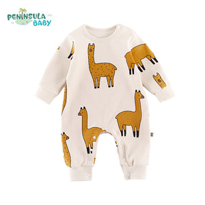 New Infant Toddler Newborn Baby Girl Boy Rompers Alpaca Printed Long Sleeve Jumpsuit Playsuit Outfits Pajamas One Piece Clothes-eosegal
